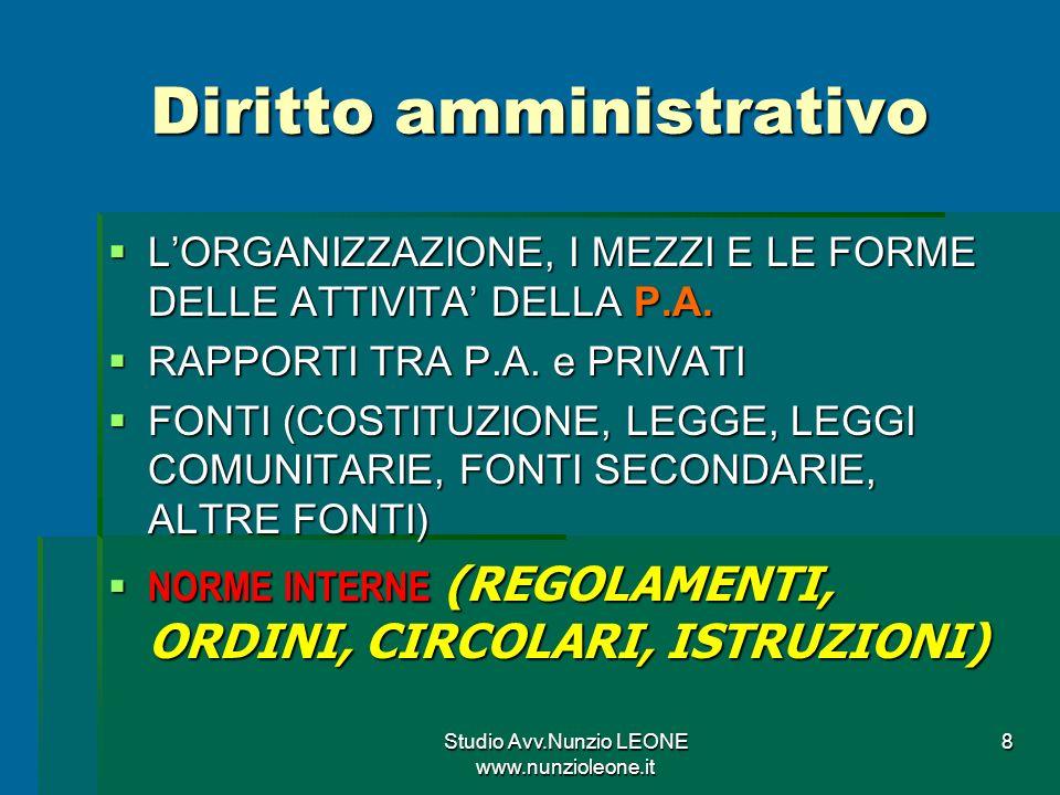 Studio Avv.Nunzio LEONE www.nunzioleone.it 8 Diritto amministrativo LORGANIZZAZIONE, I MEZZI E LE FORME DELLE ATTIVITA DELLA P.A.