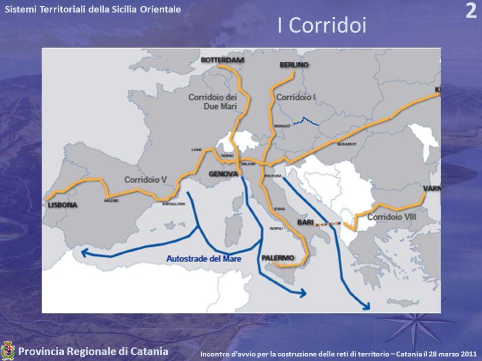 Provincia Regionale di Catania Sistemi Territoriali della Sicilia Orientale Incontro davvio per la costruzione delle reti di territorio – Catania il 28 marzo 2011 2 I Corridoi