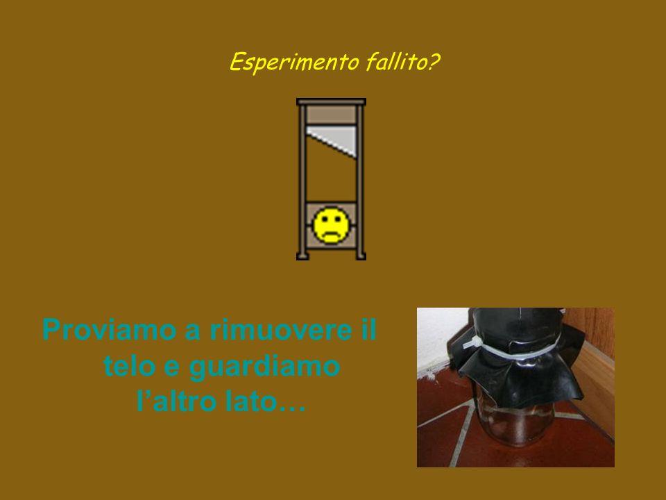 Esperimento fallito Proviamo a rimuovere il telo e guardiamo laltro lato…
