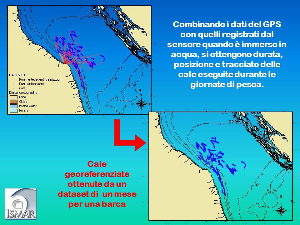 Cale georeferenziate ottenute da un dataset di un mese per una barca Combinando i dati del GPS con quelli registrati dal sensore quando è immerso in a