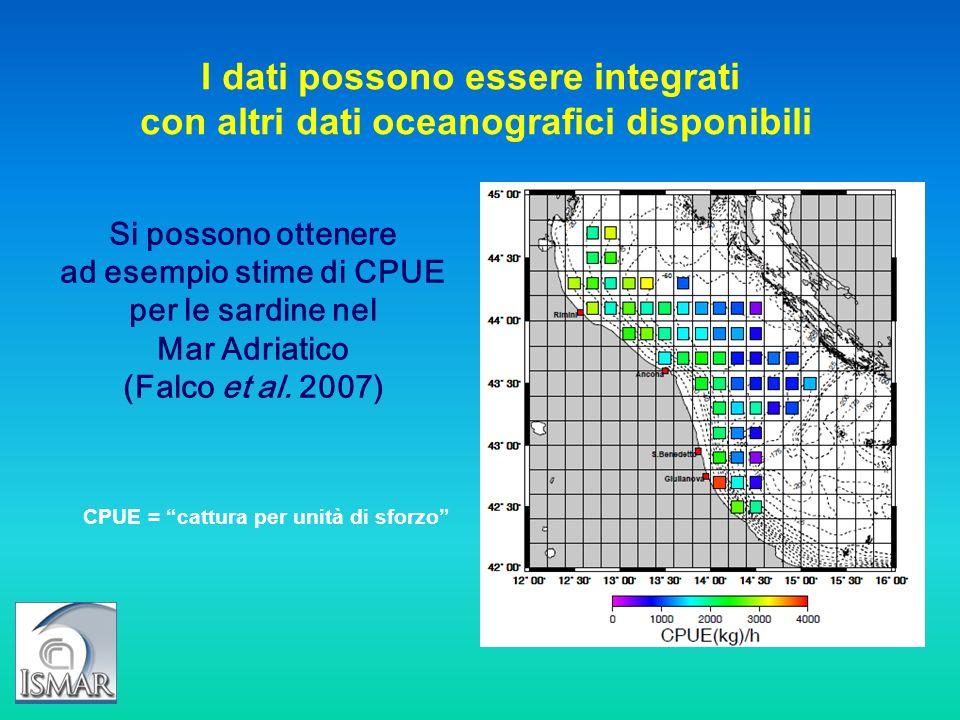 Si possono ottenere ad esempio stime di CPUE per le sardine nel Mar Adriatico (Falco et al. 2007) I dati possono essere integrati con altri dati ocean
