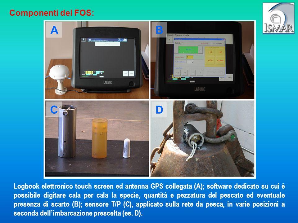 Logbook elettronico touch screen ed antenna GPS collegata (A); software dedicato su cui è possibile digitare cala per cala la specie, quantità e pezza