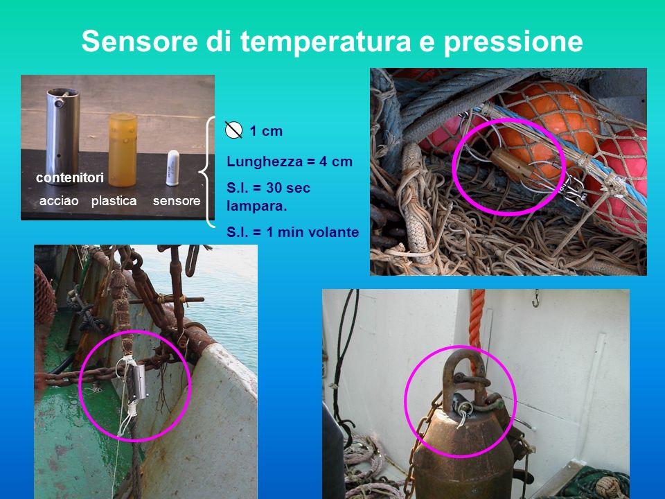 contenitori acciao plastica sensore 1 cm Lunghezza = 4 cm S.I. = 30 sec lampara. S.I. = 1 min volante Sensore di temperatura e pressione