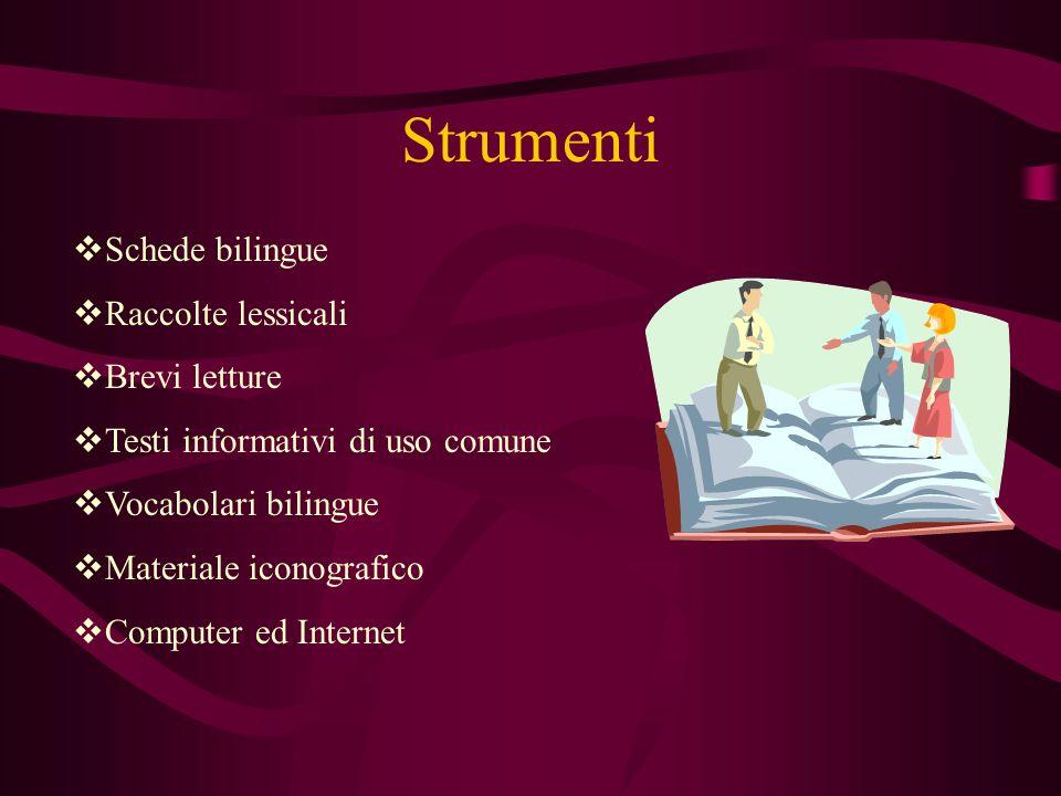 Strumenti Schede bilingue Raccolte lessicali Brevi letture Testi informativi di uso comune Vocabolari bilingue Materiale iconografico Computer ed Internet