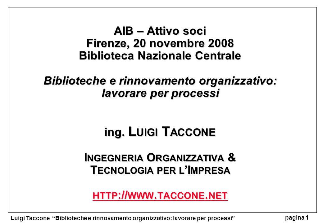 Luigi Taccone Biblioteche e rinnovamento organizzativo: lavorare per processi pagina 1 AIB – Attivo soci Firenze, 20 novembre 2008 Biblioteca Nazional