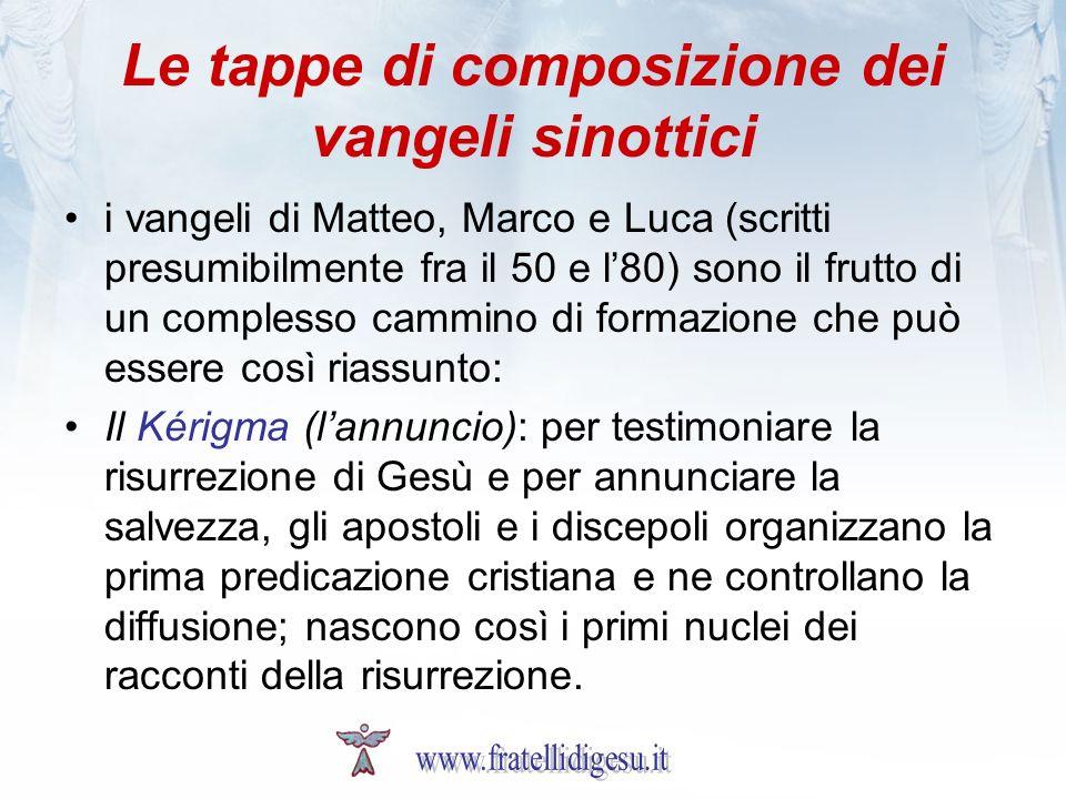 Le tappe di composizione dei vangeli sinottici i vangeli di Matteo, Marco e Luca (scritti presumibilmente fra il 50 e l80) sono il frutto di un comple
