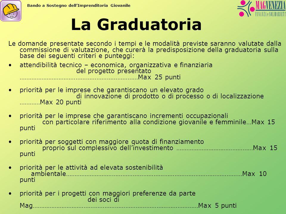 La Graduatoria Le domande presentate secondo i tempi e le modalità previste saranno valutate dalla commissione di valutazione, che curerà la predispos