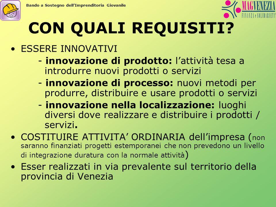 CON QUALI REQUISITI? ESSERE INNOVATIVI - innovazione di prodotto: lattività tesa a introdurre nuovi prodotti o servizi - innovazione di processo: nuov