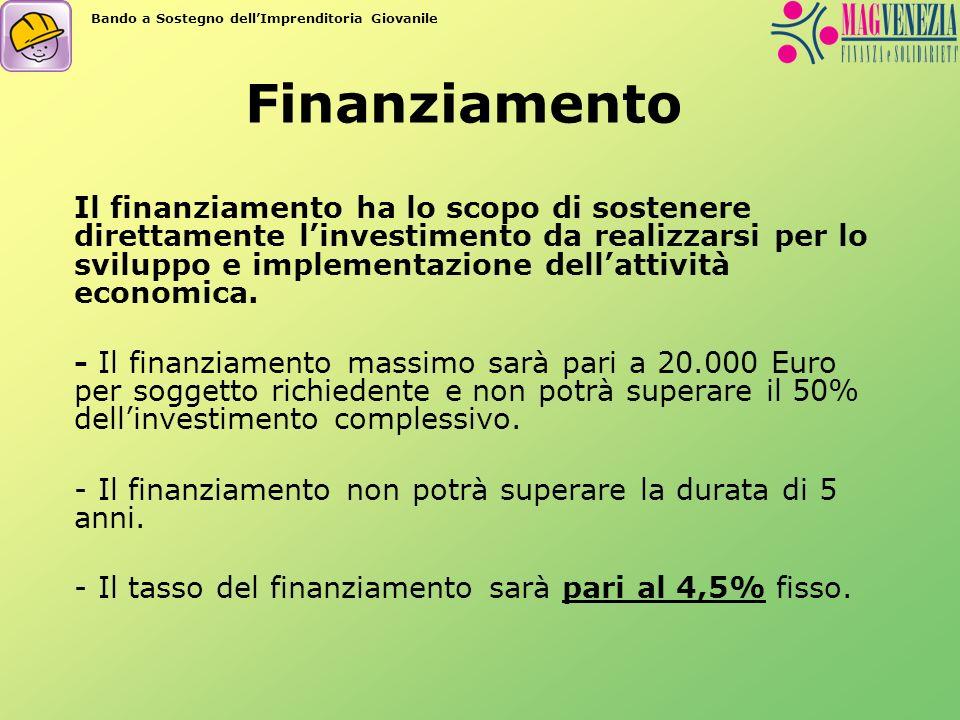 Finanziamento Il finanziamento ha lo scopo di sostenere direttamente linvestimento da realizzarsi per lo sviluppo e implementazione dellattività econo