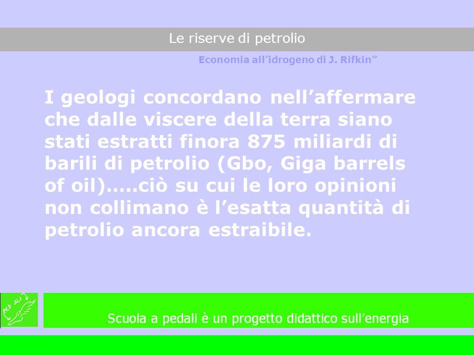 I geologi concordano nellaffermare che dalle viscere della terra siano stati estratti finora 875 miliardi di barili di petrolio (Gbo, Giga barrels of