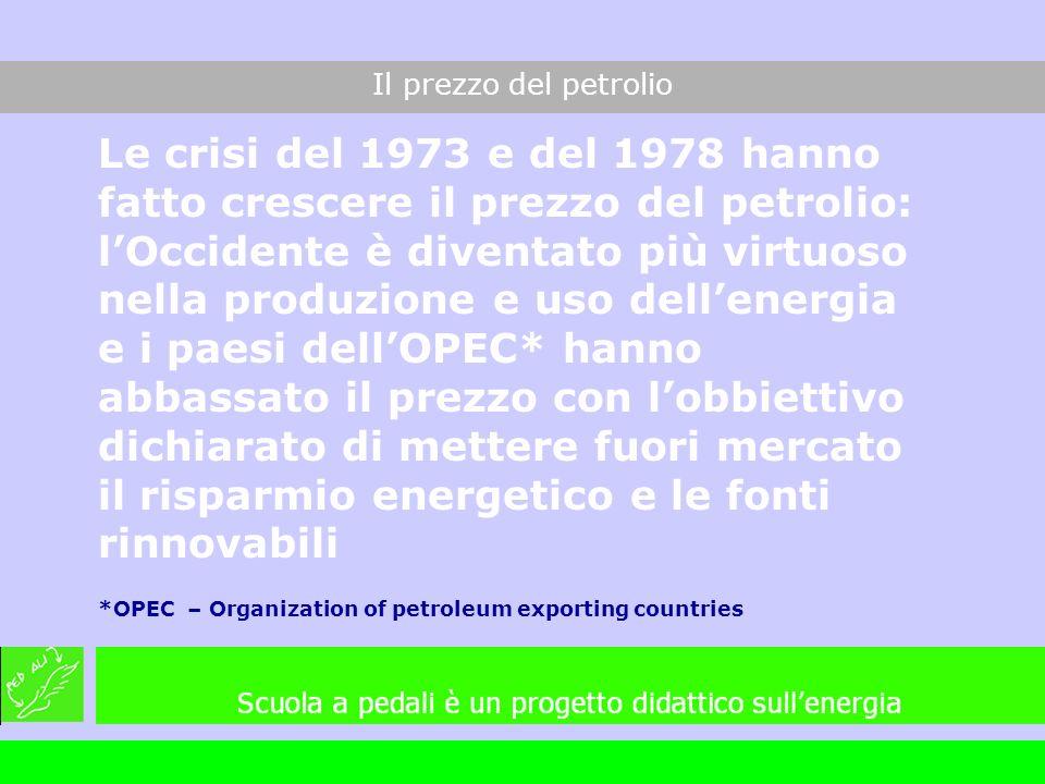 Le crisi del 1973 e del 1978 hanno fatto crescere il prezzo del petrolio: lOccidente è diventato più virtuoso nella produzione e uso dellenergia e i p