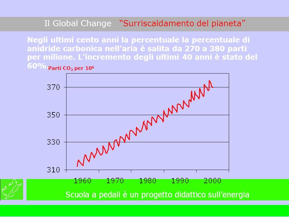 Negli ultimi cento anni la percentuale la percentuale di anidride carbonica nellaria è salita da 270 a 380 parti per milione. Lincremento degli ultimi