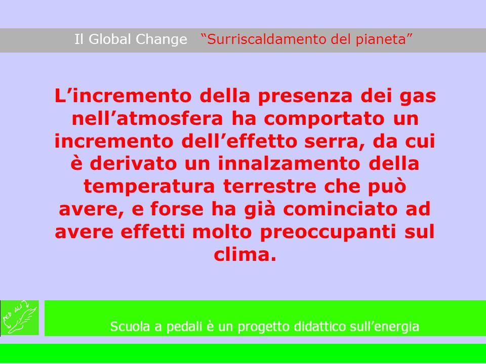 Il Global Change Surriscaldamento del pianeta Lincremento della presenza dei gas nellatmosfera ha comportato un incremento delleffetto serra, da cui è