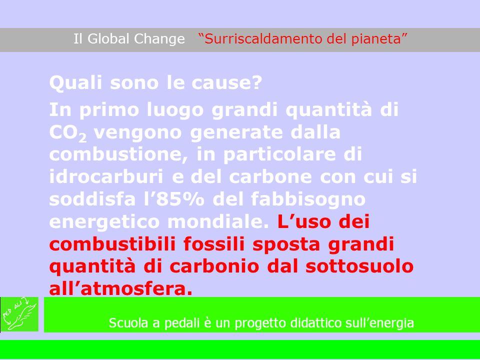 Quali sono le cause? In primo luogo grandi quantità di CO 2 vengono generate dalla combustione, in particolare di idrocarburi e del carbone con cui si