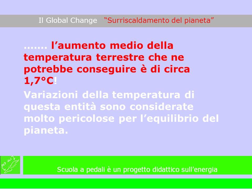 ……. laumento medio della temperatura terrestre che ne potrebbe conseguire è di circa 1,7°C! Variazioni della temperatura di questa entità sono conside