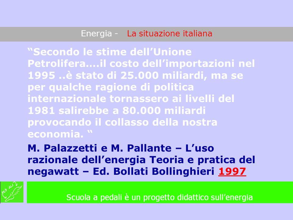 Energia - La situazione italiana Secondo le stime dellUnione Petrolifera….il costo dellimportazioni nel 1995..è stato di 25.000 miliardi, ma se per qu