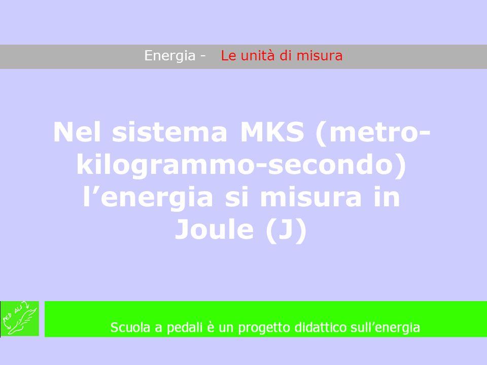 Energia - Le unità di misura Nel sistema MKS (metro- kilogrammo-secondo) lenergia si misura in Joule (J)