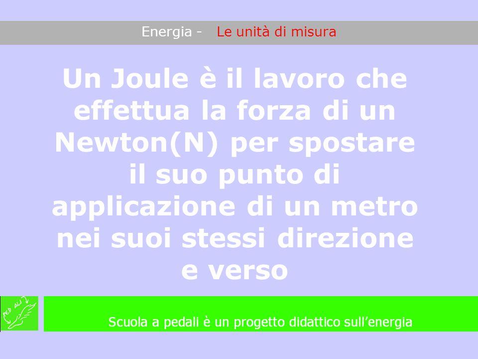 Energia - Le unità di misura Un Joule è il lavoro che effettua la forza di un Newton(N) per spostare il suo punto di applicazione di un metro nei suoi