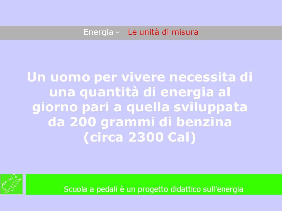 Energia - Le unità di misura Un uomo per vivere necessita di una quantità di energia al giorno pari a quella sviluppata da 200 grammi di benzina (circ