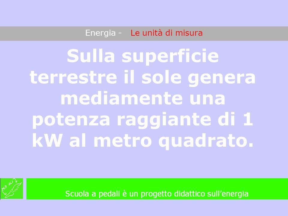 Energia - Le unità di misura Sulla superficie terrestre il sole genera mediamente una potenza raggiante di 1 kW al metro quadrato.