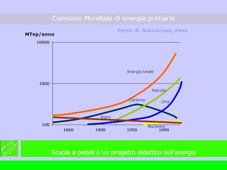 MTep/anno Consumo Mondiale di energia primaria Fonte: N. Nakicenovic, Hasa legno Energia totale Nucleare Carbone Petrolio CH4
