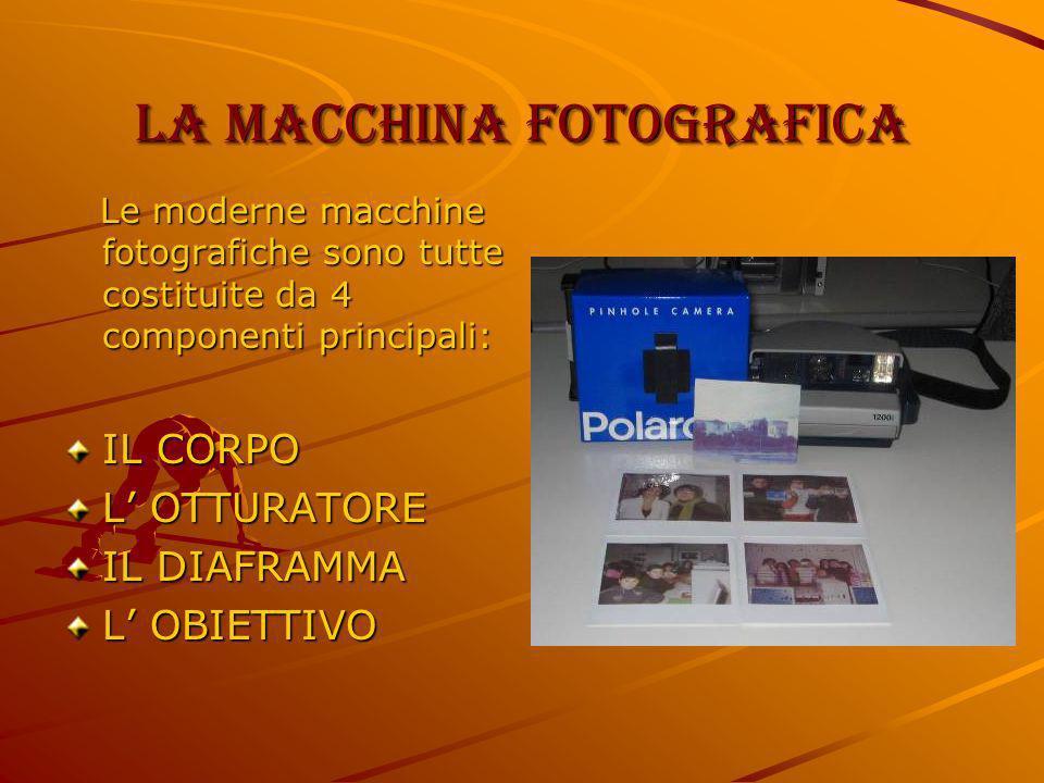La macchina fotografica Le moderne macchine fotografiche sono tutte costituite da 4 componenti principali: Le moderne macchine fotografiche sono tutte