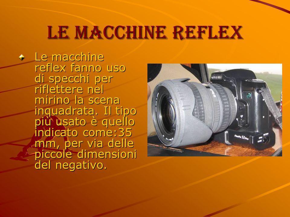 Le macchine reflex Le macchine reflex fanno uso di specchi per riflettere nel mirino la scena inquadrata. Il tipo più usato è quello indicato come:35