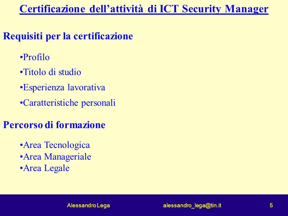 Alessandro Lega alessandro_lega@tin.it 5 Certificazione dellattività di ICT Security Manager Requisiti per la certificazione Profilo Titolo di studio Esperienza lavorativa Caratteristiche personali Percorso di formazione Area Tecnologica Area Manageriale Area Legale