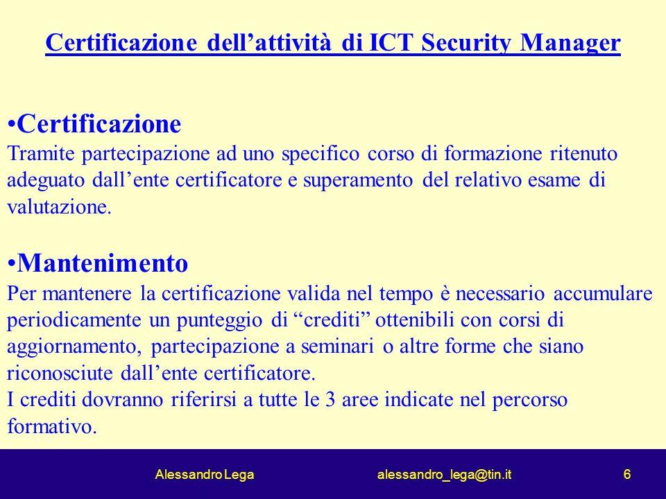 Alessandro Lega alessandro_lega@tin.it 6 Certificazione Tramite partecipazione ad uno specifico corso di formazione ritenuto adeguato dallente certificatore e superamento del relativo esame di valutazione.