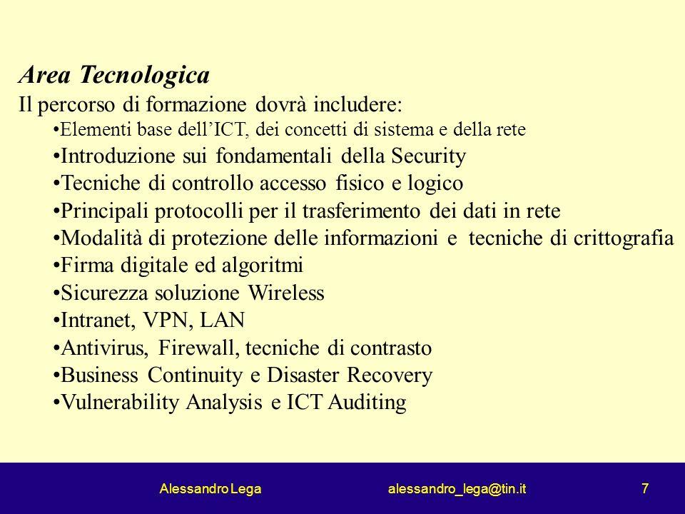 Alessandro Lega alessandro_lega@tin.it 7 Area Tecnologica Il percorso di formazione dovrà includere: Elementi base dellICT, dei concetti di sistema e