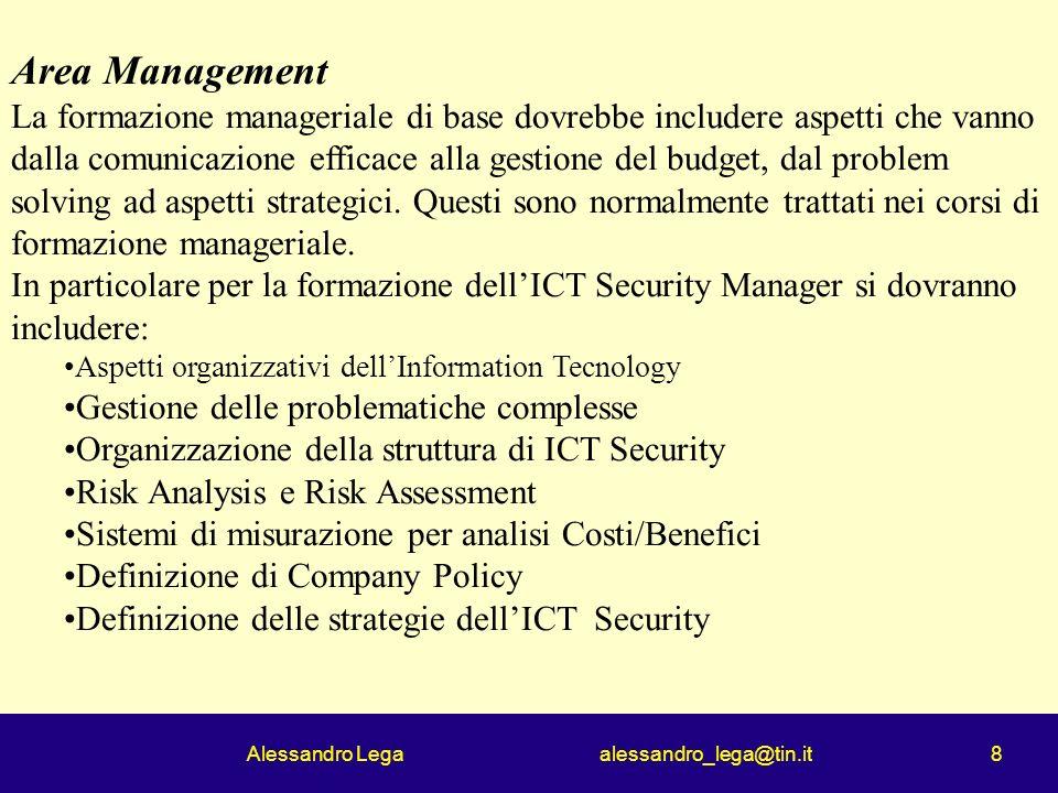 Alessandro Lega alessandro_lega@tin.it 8 Area Management La formazione manageriale di base dovrebbe includere aspetti che vanno dalla comunicazione efficace alla gestione del budget, dal problem solving ad aspetti strategici.