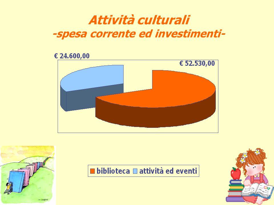 Attività culturali -spesa corrente ed investimenti-