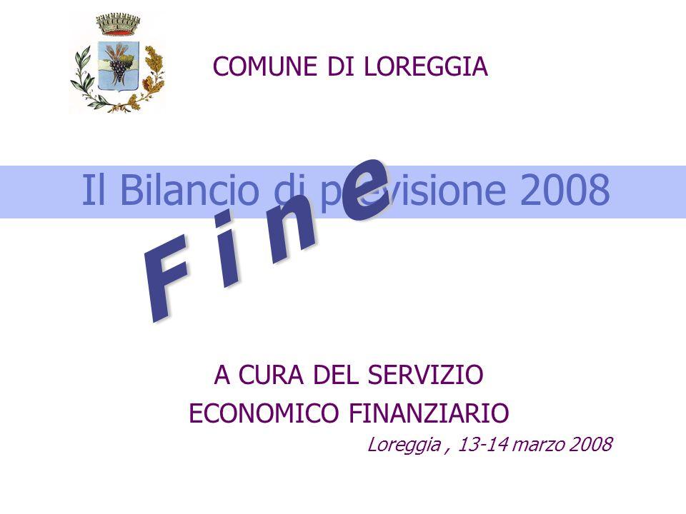 Il Bilancio di previsione 2008 A CURA DEL SERVIZIO ECONOMICO FINANZIARIO Loreggia, 13-14 marzo 2008 COMUNE DI LOREGGIA F i n e