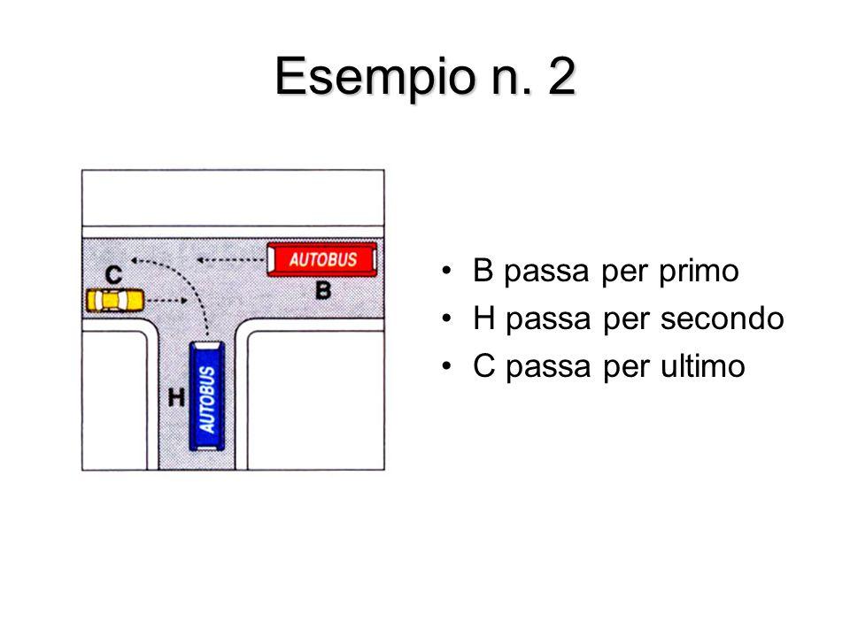 Esempio n. 2 B passa per primo H passa per secondo C passa per ultimo