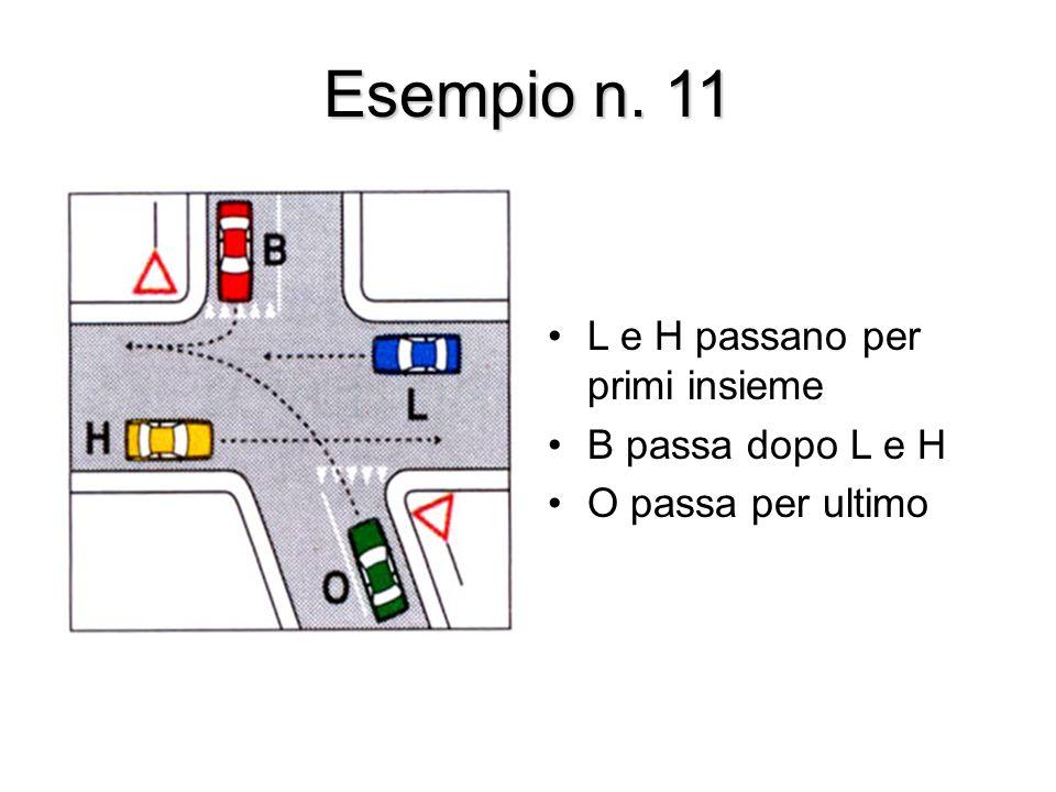 Esempio n. 11 L e H passano per primi insieme B passa dopo L e H O passa per ultimo