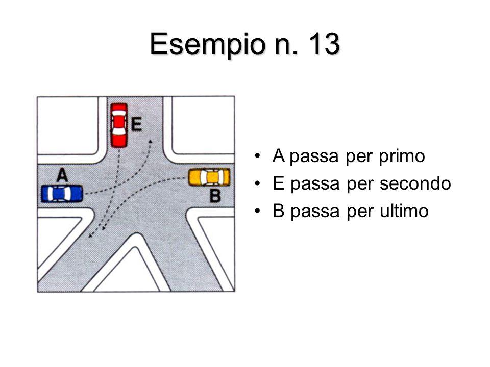 Esempio n. 13 A passa per primo E passa per secondo B passa per ultimo