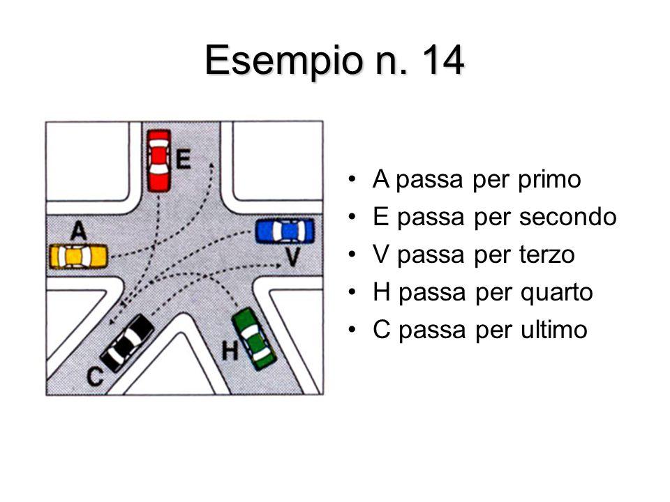 Esempio n. 14 A passa per primo E passa per secondo V passa per terzo H passa per quarto C passa per ultimo
