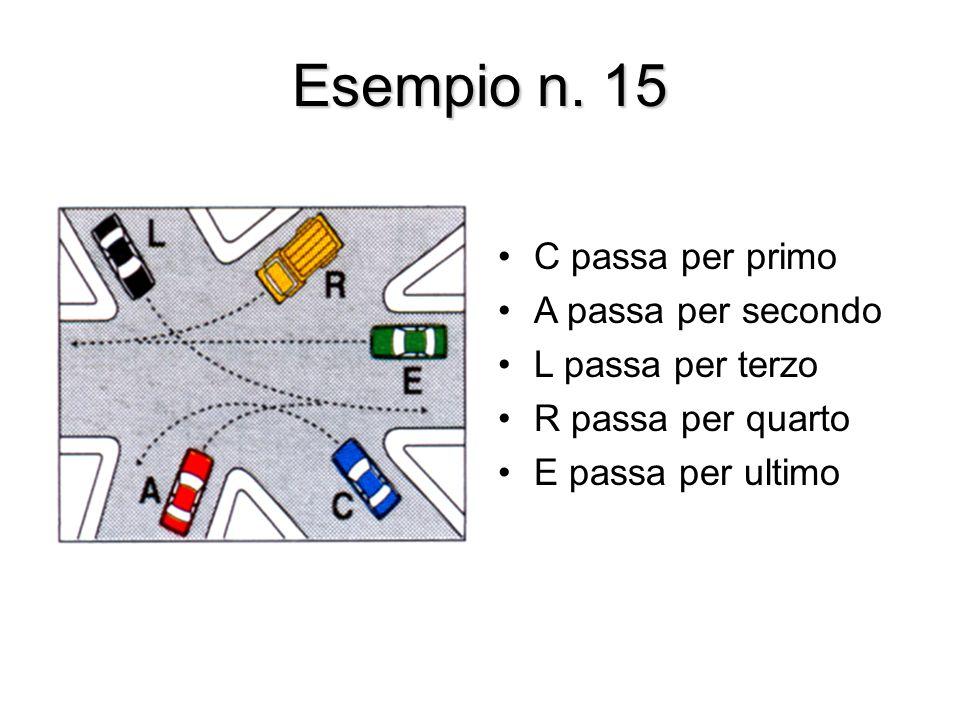 Esempio n. 15 C passa per primo A passa per secondo L passa per terzo R passa per quarto E passa per ultimo