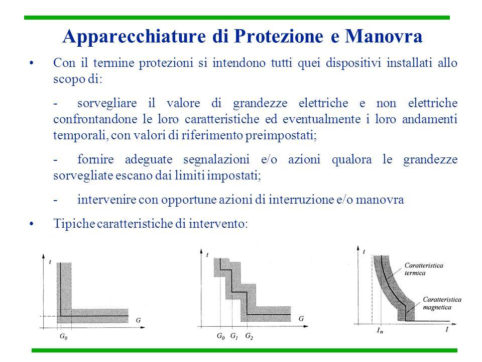 Apparecchiature di Protezione e Manovra Con il termine protezioni si intendono tutti quei dispositivi installati allo scopo di: -sorvegliare il valore
