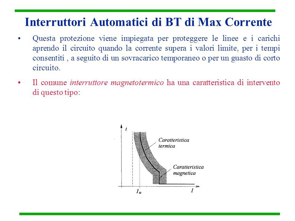 Interruttori Automatici di BT di Max Corrente Questa protezione viene impiegata per proteggere le linee e i carichi aprendo il circuito quando la corr