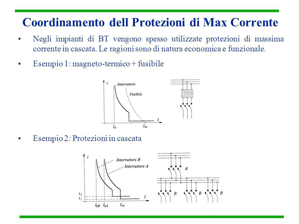 Coordinamento dell Protezioni di Max Corrente Negli impianti di BT vengono spesso utilizzate protezioni di massima corrente in cascata. Le ragioni son