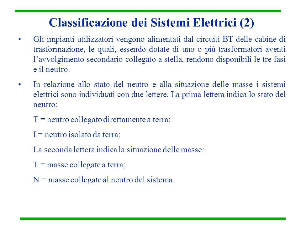 Classificazione dei Sistemi Elettrici (2) Gli impianti utilizzatori vengono alimentati dal circuiti BT delle cabine di trasformazione, le quali, essen