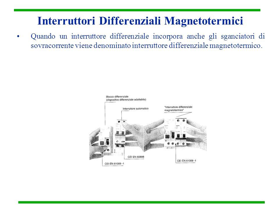 Interruttori Differenziali Magnetotermici Quando un interruttore differenziale incorpora anche gli sganciatori di sovracorrente viene denominato inter