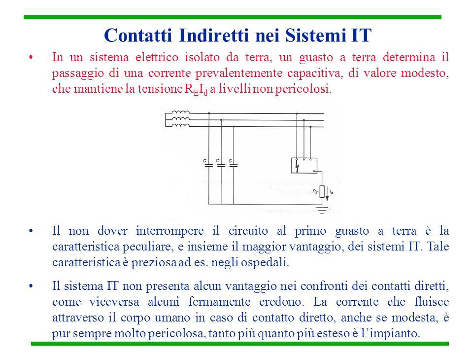 Contatti Indiretti nei Sistemi IT In un sistema elettrico isolato da terra, un guasto a terra determina il passaggio di una corrente prevalentemente c