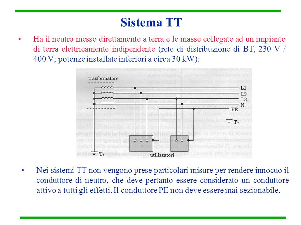 Sistema TN Il sistema elettrico TN ha il neutro messo direttamente a terra e le masse dellistallazione connesse a quel punto per mezzo del conduttore di protezione : TN-C : le funzioni di neutro e di protezione sono combinate in uno stesso conduttore (conduttore PEN, non deve mai essere sezionabile!); TN-S: conduttori di neutro e di protezione separati; TN-C-S : le funzioni di neutro e di protezione sono in parte combinate in un solo conduttore e in parte separate;