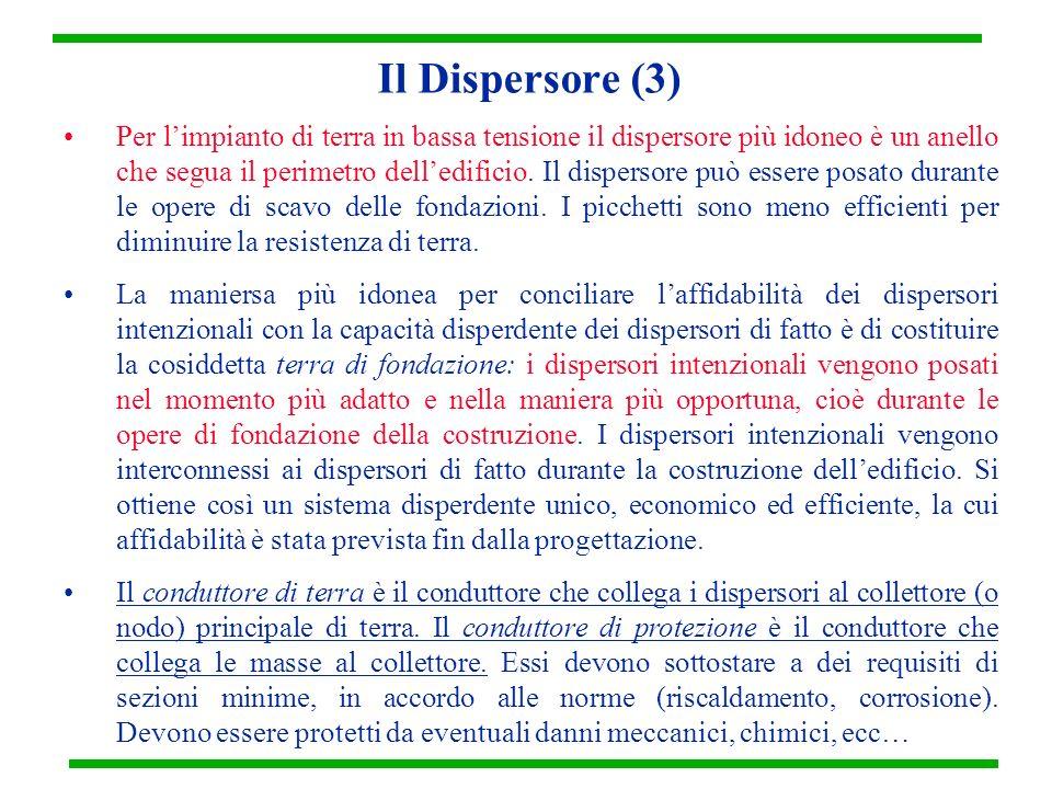 Il Dispersore (3) Per limpianto di terra in bassa tensione il dispersore più idoneo è un anello che segua il perimetro delledificio. Il dispersore può