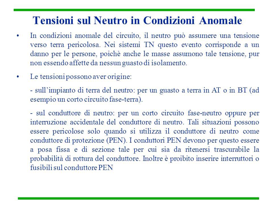 Tensioni sul Neutro in Condizioni Anomale In condizioni anomale del circuito, il neutro può assumere una tensione verso terra pericolosa. Nei sistemi