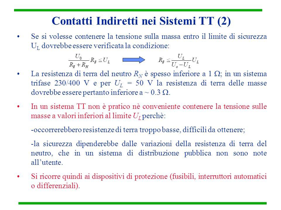 Contatti Indiretti nei Sistemi TT (2) Se si volesse contenere la tensione sulla massa entro il limite di sicurezza U L dovrebbe essere verificata la c