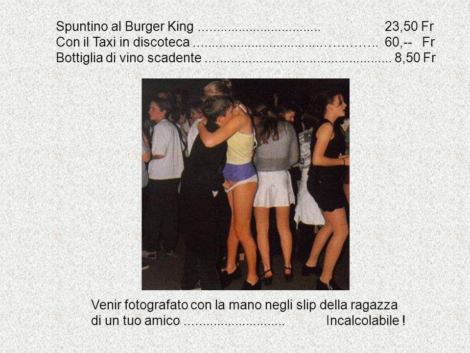 Spuntino al Burger King.................................. 23,50 Fr Con il Taxi in discoteca...................................………….. 60,-- Fr Bottigli