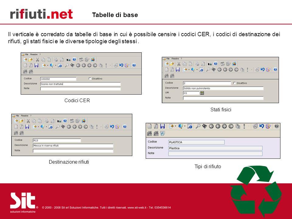 Il verticale è corredato da tabelle di base in cui è possibile censire i codici CER, i codici di destinazione dei rifiuti, gli stati fisici e le diver